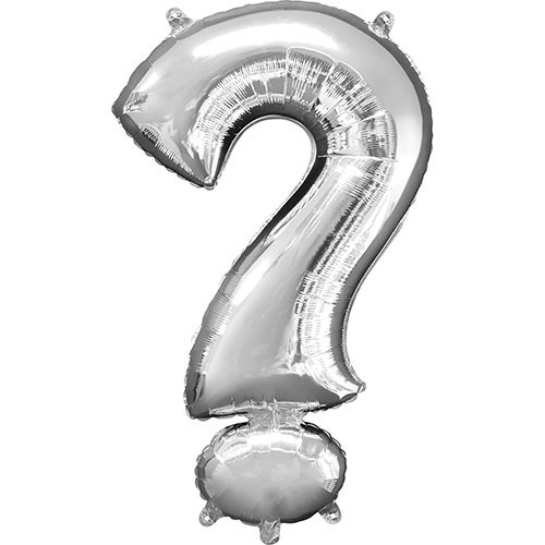 Silver Question Mark Symbol Air-Filled Foil Balloon 40cm / 16Inch Product Image