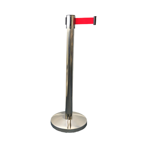 Silver Retractable Barrier Post with 2m Red Belt and Base Product Image