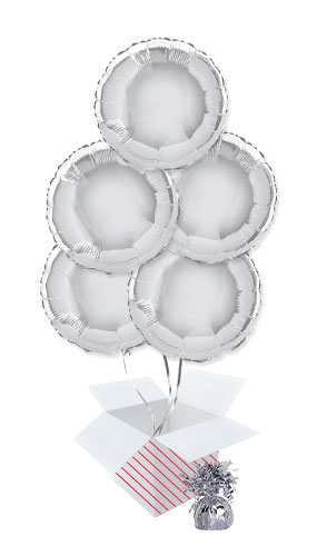 Silver Round Foil Helium Balloon Bouquet - 5 Inflated Balloons In A Box Product Image