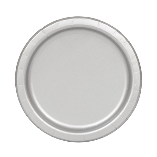 Silver Round Paper Plates 17cm - Pack of 20