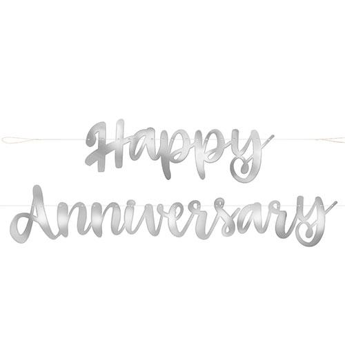 Silver Script Happy Anniversary Foil Cardboard Letter Banner 182cm Product Image