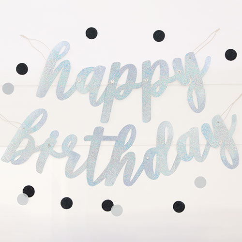Silver Script Happy Birthday Holographic Foil Cardboard Letter Banner 84cm