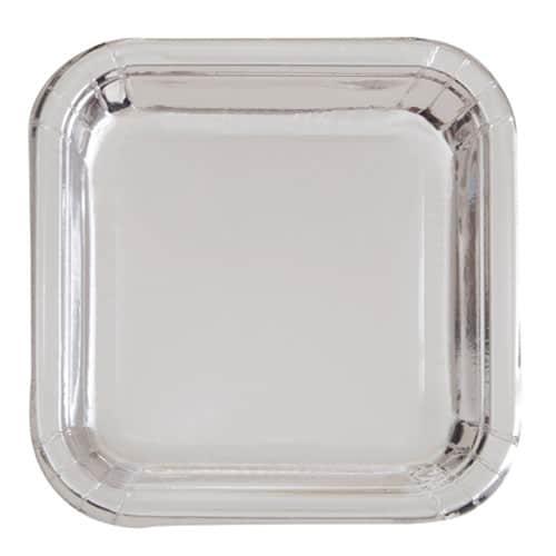 Silver Foil Square Paper Plate 17cm