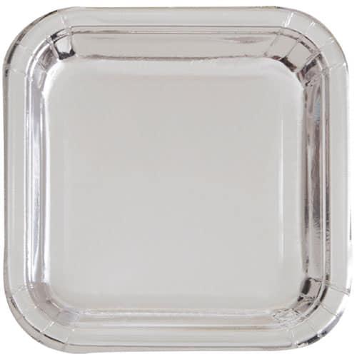 Silver Foil Square Paper Plate 22cm