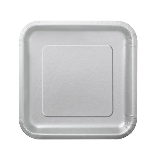 Silver Square Paper Plates 17cm - Pack of 16