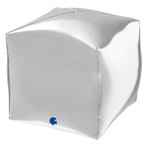 Silver 4D Square Shape Foil Helium Balloon 38cm / 15 in