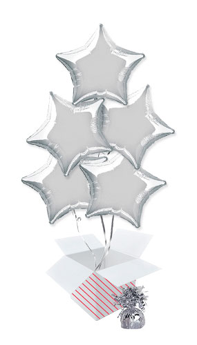 Silver Star Foil Helium Balloon Bouquet - 5 Inflated Balloons In A Box Product Image