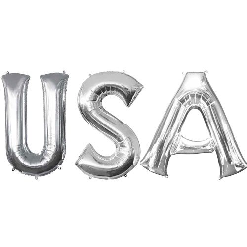 Silver USA Small Air Fill Foil Balloon Kit