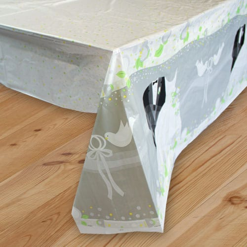 Silver Wedding Plastic Tablecover 213cm x 137cm
