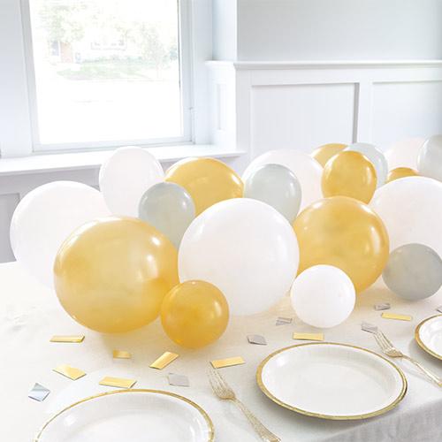 Silver White & Gold Balloon DIY Garland Balloon Arch Kit With Confetti