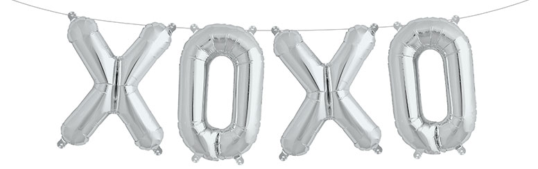 Silver XOXO Air Fill Foil Balloon Kit 41cm / 16Inch Product Image