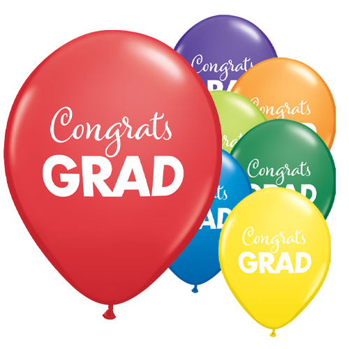 Simply Congrats Grad Assorted Latex Helium Qualatex Balloons 28cm / 11 in - Pack of 25 Product Image