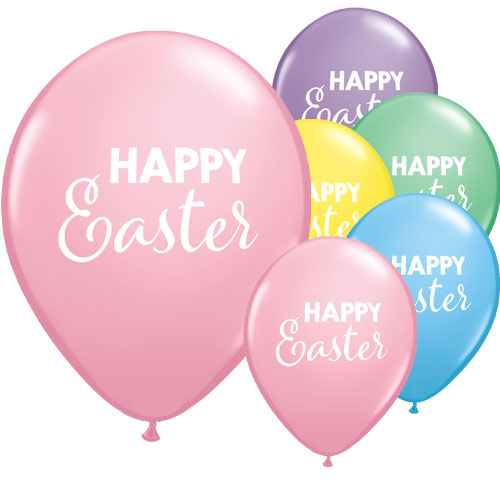 Simply Happy Easter Assorted Round Latex Helium Qualatex Balloons 28cm / 11 in - Pack of 25