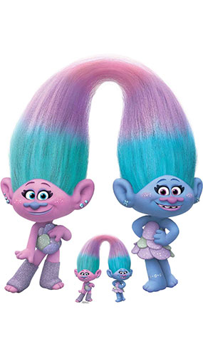 Sisters Satin And Chenille Trolls World Tour Lifesize Cardboard Cutout 111cm Product Image