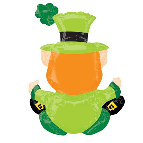 Sitting Leprechaun Air Fill St. Patrick's Day Foil Balloon 55cm / 22 in Product Gallery Image
