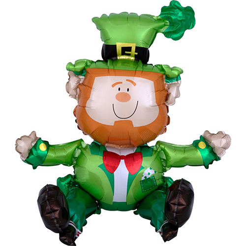 Sitting Leprechaun Air Fill St. Patrick's Day Foil Balloon 55cm / 22 in