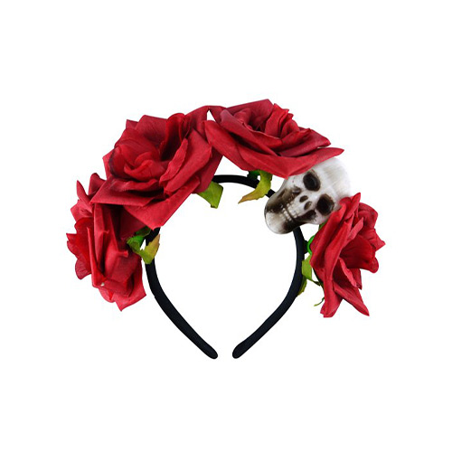 Skull with Flowers Halloween Headband Product Image