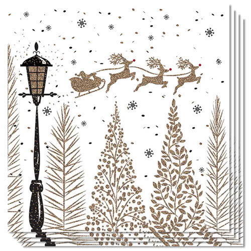 Sleigh Above Trees Christmas Premium Luncheon Napkins 3Ply 33cm - Pack of 50 Product Image