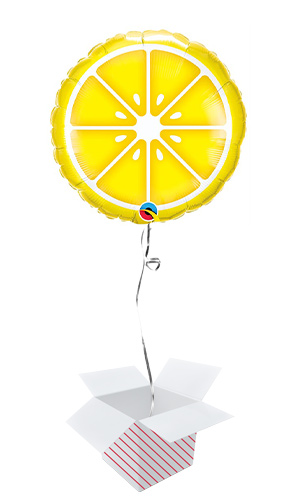 Sliced Lemon Round Foil Helium Qualatex Balloon - Inflated Balloon in a Box