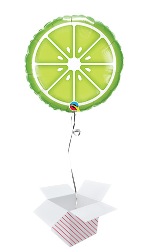 Sliced Lime Round Foil Helium Qualatex Balloon - Inflated Balloon in a Box