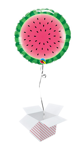 Sliced Watermelon Round Foil Helium Qualatex Balloon - Inflated Balloon in a Box
