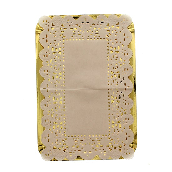 Small Gold Paper Platters with Doilies - 8.5 Inches / 21.5cm - Pack of 4