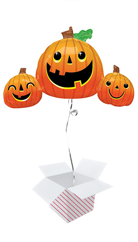 Smiley Pumpkins Halloween Helium Foil Giant Balloon - Inflated Balloon in a Box Product Image