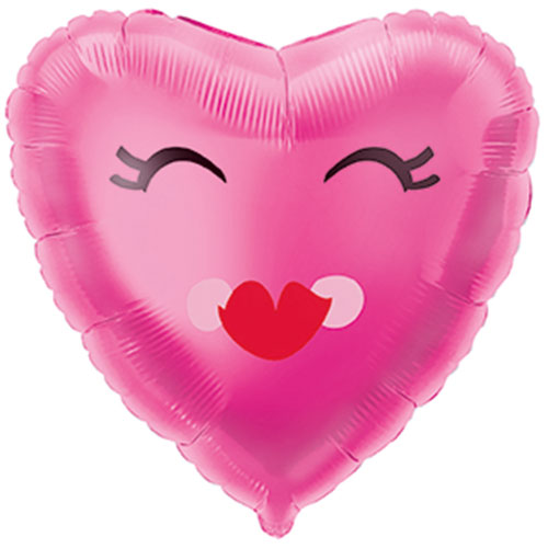 Smiling Pink Heart Foil Helium Balloon 46cm / 18Inch Bundle Product Image