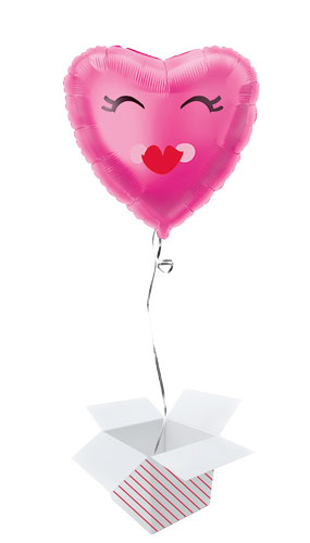 Smiling Pink Heart Foil Helium Balloon - Inflated Balloon in a Box