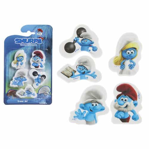 Smurfs Erasers Assorted Designs Pack of 5