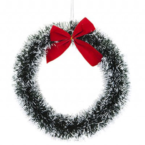 Snow Tip Tinsel Wreath with Red Bow Christmas Decoration 30cm