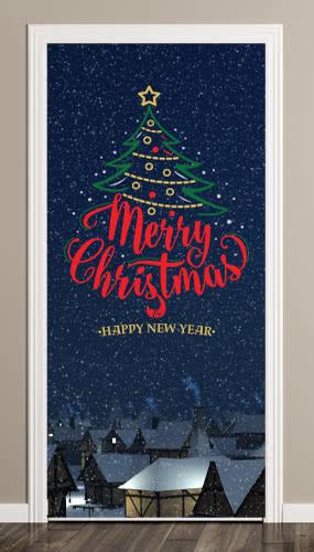 Merry Christmas Village Door Cover PVC Party Sign Decoration 66cm x 152cm