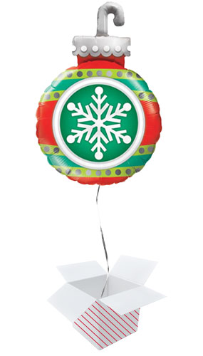 Snowflake Ornament Christmas Helium Foil Giant Qualatex Balloon - Inflated Balloon in a Box Product Image