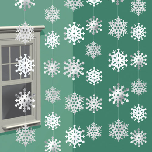 Snowflakes Christmas String Hanging Decorations 213cm - Pack of 6