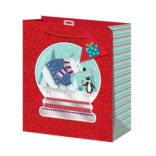 Snowglobe Glitter Christmas Large Gift Bag 33cm
