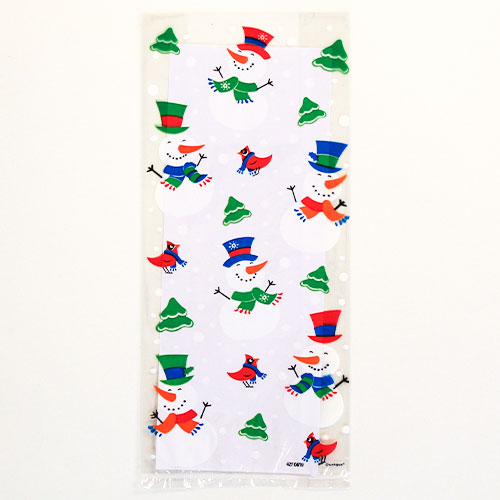 Snowman Glee Cello Bags with Twist Ties - Pack of 20