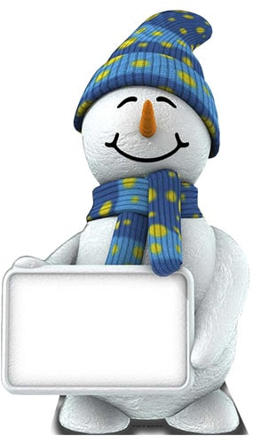 Snowman With Sign Lifesize Cardboard Cutout - 183cm