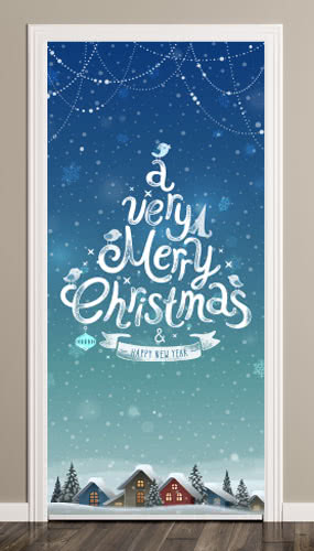 A Very Merry Christmas And Happy New Year Door Cover PVC Party Sign Decoration 66cm x 152cm