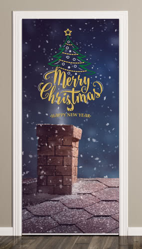 Merry Christmas Night Snow Door Cover PVC Party Sign Decoration 66cm x 152cm