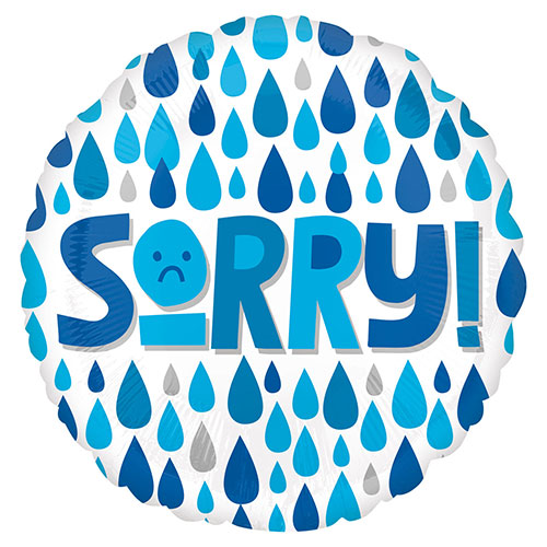 Sorry Raindrops Round Foil Helium Balloon 43cm / 17 in Product Image