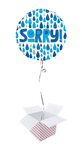Sorry Raindrops Round Foil Helium Balloon - Inflated Balloon in a Box Product Image