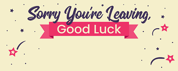 Sorry You're Leaving Good Luck Design Large Personalised Banner 10ft x 4ft