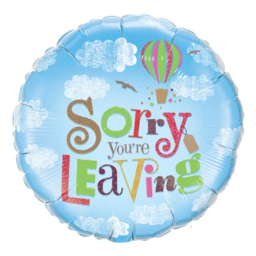 Sorry You're Leaving Clouds Round Qualatex Foil Helium Balloon 46cm / 18 Inch
