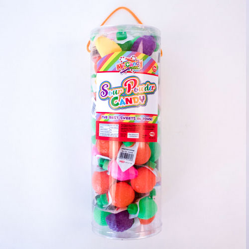 Sour Powder Candy Sweet in Assorted Plastic Fruit Containers 8 Grams - Pack of 55 Product Image