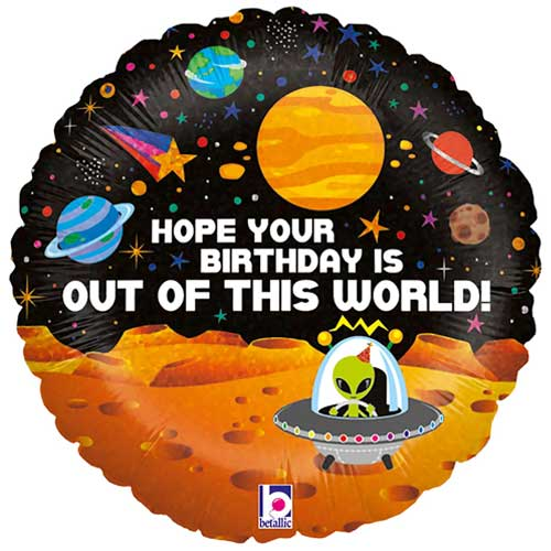 Space Alien Birthday Holographic Round Foil Helium Balloon 46cm / 18 in Product Image
