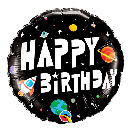 Space Birthday Astronaut Round Qualatex Foil Helium Balloon 46cm / 18 Inch Product Image