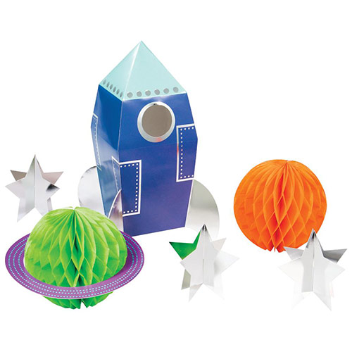 Space Party 3D Foiled Honeycomb Centrepiece Table Decoration Kit