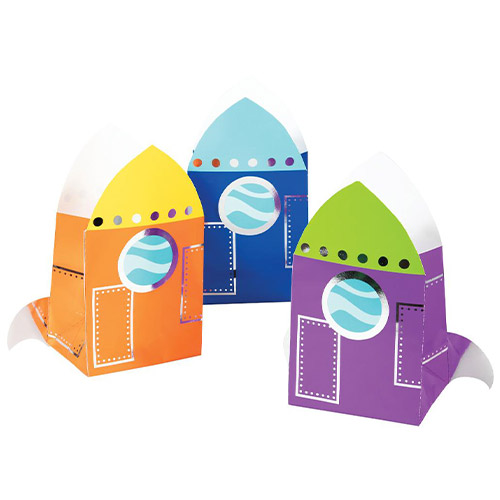 Space Party Shaped Paper Treat Bags - Pack of 8 Product Image