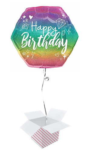 Sparkle Birthday Holographic Helium Foil Shaped Balloon - Inflated Balloon in a Box Product Image