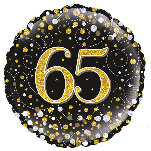 Sparkling Black 65th Birthday Holographic Round Foil Helium Balloon 46cm / 18 in